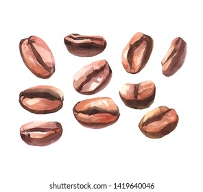 Watercolor realistic coffee beans isolated on a white background illustration.