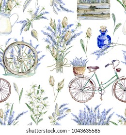 Watercolor realistic illustration. Floral seamless pattern. Provence. Retro bicycle, lavender, wooden