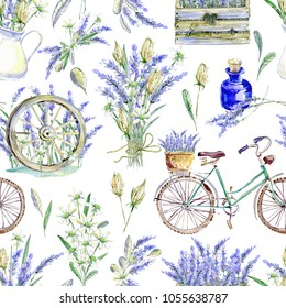 Watercolor realistic illustration. Floral seamless pattern. Provence. Retro bicycle, lavender wooden