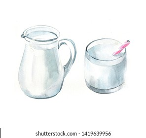 Watercolor realistic milk glass with cake illustration isolated on white background.