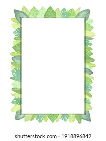 Watercolor rectangle frame of green tropical leaves. A background for invitations, advertising, postcards.