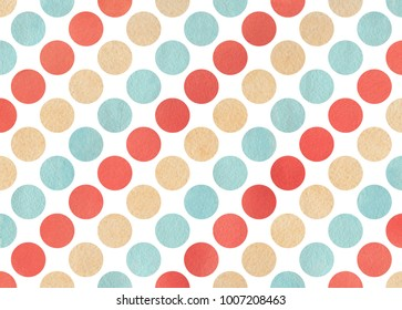 Watercolor red, blue and beige polka dot background. Pattern with dots for scrapbooks, wedding, party or baby shower invitations.