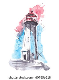 watercolor red and blue lighthouse hand painted
