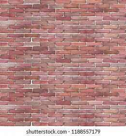 Watercolor red brick wall. Hand painted architectural seamless pattern