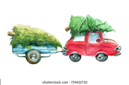 watercolor red car and blue trailer with green christmas tree on top isolated on white background