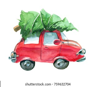 watercolor red car with green christmas tree on top isolated on white background