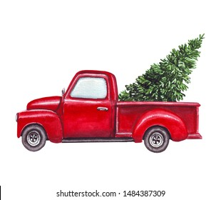 watercolor red car, truck with green christmas tree on top isolated on white background