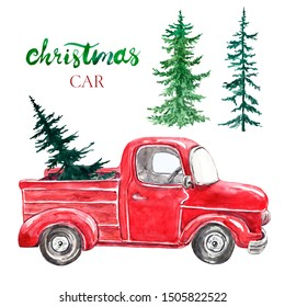 Watercolor red Christmas truck with pine tree, isolated on white background. Hand painted abstract retro car and coniferous evergreen trees. Decorative elements, symbols of winter holidays for cards.