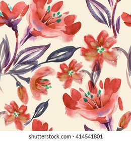 Watercolor Red Flowers Seamless Pattern