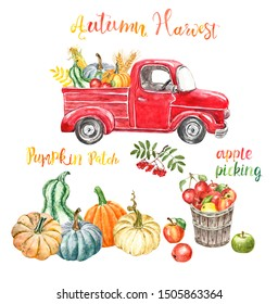 Watercolor red harvest truck with autumn seasonal vegetables and fruits, isolated. Hand painted cartoon abstract retro car, pumpkins, corn, apples. Pumpkin patch illustration for Thanksgiving day.