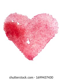 Wasserfarbenes rotes Herz.Abstrakter Hintergrund. Aquarellfarbene Textur.