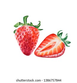 Watercolor red juicy strawberry with a half. Food background, painted bright composition. Hand drawn food illustration. Fruit print. Summer sweet fruits and berries.