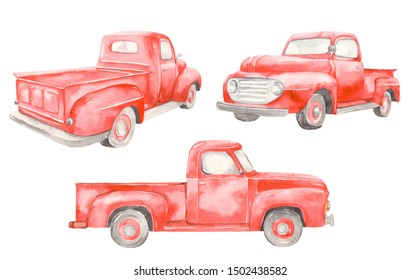 Watercolor red old car pickup. Front view, side, back. On white background