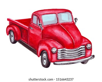 Watercolor red old retro car pickup. Vintage christmas truck, isolated