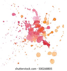 Watercolor red orange blots isolated on white background. Expressive watercolor spot blotch with splashes. Banner for text, grunge element for decoration. Watercolor splash background