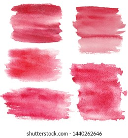 Watercolor red paint brushtrokes raster texture set. Watercolour crimson hand drawn brush strokes stain. Gradient ombre water drawing background. Aquarelle isolated abstract smears, smudges, blobs