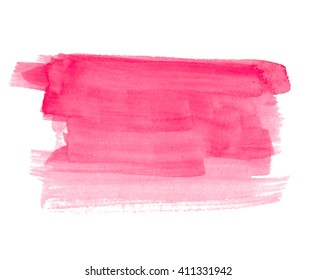 Watercolor red paper texture hand drawn isolated stroke spot on white background. Wet brush painted smudges striped abstract art colorful illustration. Water design stain for banner, print, template
