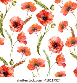 watercolor of red poppies pattern, seamless pattern, summer, floral watercolor background