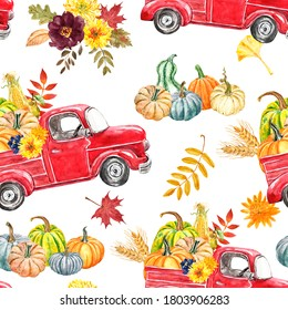 Watercolor red pumpkin truck with autumn seasonal vegetables and fruits seamless pattern. Fall pumpkins and car illustration. Colorful botanical print. Harvest themed design