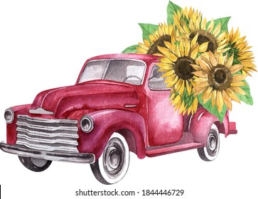 Watercolor red retro truck with sunflowers. Thanksgiving illustration
