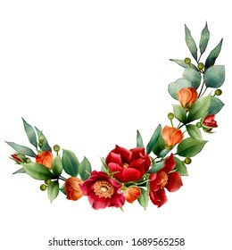 Watercolor red roses green leaves  hand painted flower garland for wedding engagement invitations