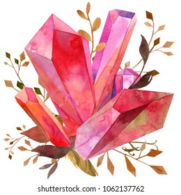 watercolor red ruby crystal cluster foliage bouquet ornament