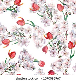 Watercolor red tulips with flowers cherry. Seamless pattern on a white background.
