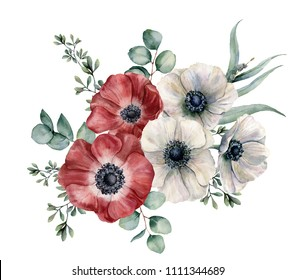 Watercolor red and white anemone bouquet. Hand painted colorul flowers, eucalyptus leaves isolated on white background. Illustration for design, fabric, print or background