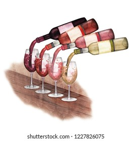 Watercolor red, white and rose wines pouring from bottles into glasses standing on a wooden table. Bar still life. Hand painted isolated design