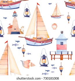 Watercolor regatta seamless pattern. Repeating sea texture with sailboat, shells, lighthouse, float, lantern, fish. Wallpaper design in cartoon style