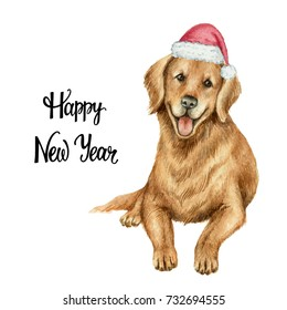 Watercolor retriever in Santa Claus hat isolated on white background. Chinese New Year of the Dog.
