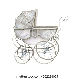 Watercolor Retro Baby Carriage