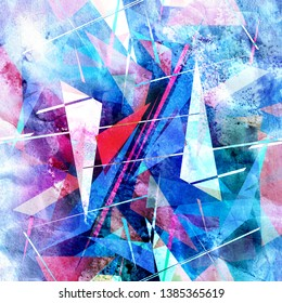 Watercolor retro color abstract geometric background. An example for the design of posters postcards
