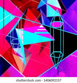 Watercolor retro color abstract geometric background. An example for the design of posters postcards.