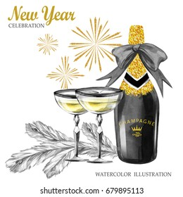 Watercolor retro illustration. Golden luxury style. Hand painted bottle of Champagne, wineglasses, fir branches and firework. Christmas, New Year symbol. Can be use in anniversary and holidays design.