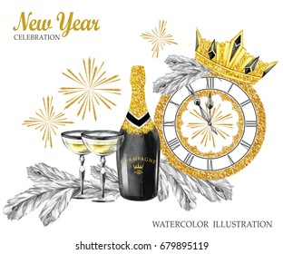 Watercolor retro illustration. Golden luxury style. Bottle of Champagne, wineglasses, jewellery clock, diadem, fir branches and firework. New Year symbol. Ready for anniversary and holidays design.