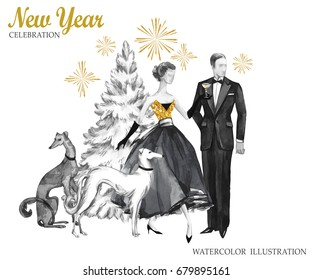 Watercolor retro illustration. Golden luxury style. Hand painted man and women with champagne, dogs, Christmas tree and firework. New Year symbol. Ready for anniversary and holidays design.