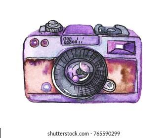 Watercolor retro photo camera isolated on white