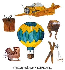Watercolor retro styled objects for card design: airplane, air baloon, present, hat with googlies, present box, skies