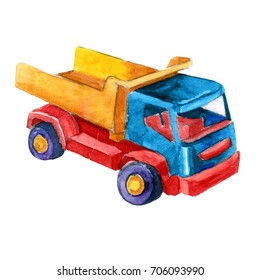 Watercolor retro Toy car dump truck illustrations isolated on white background. Colorful hand drawn vintage illustration. Perfect for kids cartoon magazine