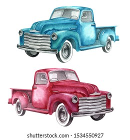 Watercolor retro truck. Hand painted vintage retro car illustration perfect for thanksgiving card making, wedding invitation and fall autumn postcards
