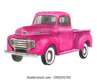 Watercolor retro truck. Valentine's day truck.
