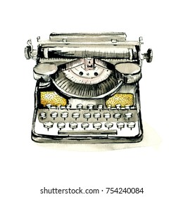Watercolor retro typewriter. Sketch hand drawn illustration vintage style, isolated on white background.