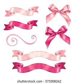 watercolor ribbon and bow illustration, valentines day design elements isolated on white background, festive clip art