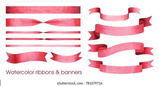Watercolor ribbons set. Banners and ribbons.