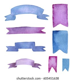Watercolor ribbons set. Blue and violet elements.