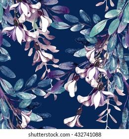Watercolor Robinias Seamless Pattern