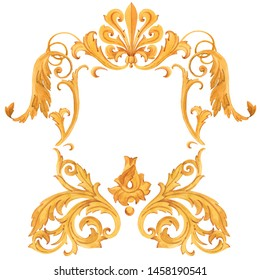 Watercolor rococo style frame, flowers and ornament. Golden isolated baroque element