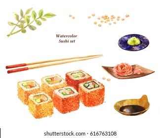 Watercolor rolls, chopsticks, wasabi, pickled ginger, soy sauce, soybean, flying fish roe. Japanese food, isolated on white.