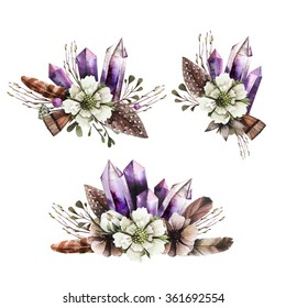 Watercolor romantic composition with flowers and crystals. Vintage boutonniere with feathers, berries, tree branch, white anemones and crystals. Floral composition in vintage style.